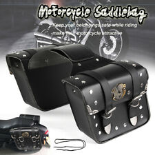 2x Universal PU Leather Motorcycle Saddlebags Saddle Bags Pouch for Harley Honda