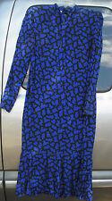 Vintage 80s Pierre Cardin Silk Blue Black Puzzle Print Drop Waisted Dress sz 8
