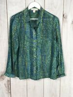 Coldwater Creek Womens Blue Green Yellow Button Down Sheer Blouse Size M (10-12)