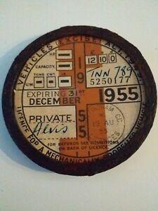 Vintage Road tax disc 1955 For Alvis In Alvis Chrome Holder