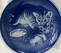 Vtg Royal Copenhagen 1971 Porcelain Cat Kittens Mothers Day Royal Blue Plate
