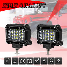 2x 4inch LED Light Bars Quad Row Pods Cube Driving SUV 4X4 UTE 6000K Snowmobile