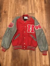 Vintage Red/ Gray Made in USA DeLONG Wool Varsity Letterman Wrestling Jacket