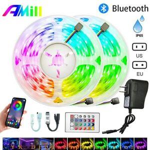 Waterproof 49FT RGB Flexible LED Strip Light 5050 Bluetooth Remote 24Key Control