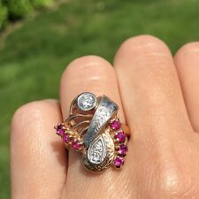 14K Rose White Gold Old European Diamond Ruby Antique Vintage Spray Scroll Ring