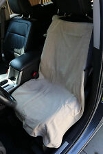"Car Seat Towel Slip-On Cotton Terry Cloth Seat Cover in Solid Tan 47"" X 24"""