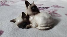 BESWICK SIAMESE KITTENS-CURLED TOGETHER SEAL POINT GLOSS, MODEL 1296, 1964-1989.