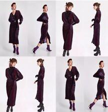 ZARA AW17 Long Flowing Striped Velvet Kimono Dress Jacket Purple S BNWOT