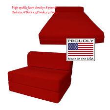 Full Size Red Sleeper Chair Folding Foam Beds 6 x 48 x 72 High Density Foam