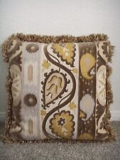 "Large Fringed Couch Throw Pillow Velvet Inset 21"" Decorative Brown Green Cushion"
