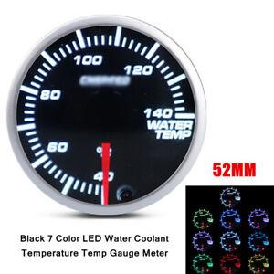 52MM 7 Color 12V Car ABS&Aluminum LED Water Coolant Temperature Temp Gauge Meter