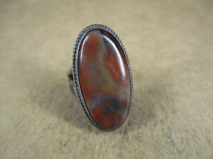 Vtg Sterling Silver & Petrified Wood Ring, Unsigned, Size 8.75, 7.8g