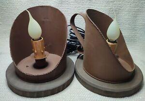 Set of 2 NOS Metal & Wood Scoop Candle Lamp W/ Bulbs MPN 27654 *200259