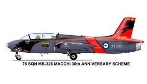 1/72 RAAF Decals; Macchi MB.326H 76 SQN 30 Years on Macchis Panther Tail