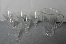 32 oz Jug / Pitcher & 6 Waterford Cut Crystal EILEEN Water Flared Goblets
