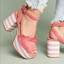 Anthropologie Ruffled Platform Heels Pink Stripes Leather Sandals Shoes Sz 40 10