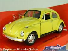 VOLKSWAGEN BEETLE MODEL CAR YELLOW 1:36-1:38 SCALE WELLY 49720CW CLASSIC VW K8