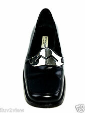 Bruno Magli Italian designer  Black Leather Women's Shoes Size 37.5 EUR.