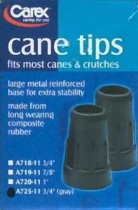 Carex Cane Tips A725-11, Set of 2 - Gray - NEW