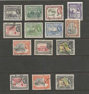 British Guiana 1954-63 QE2 Defs used short set with wmk varieties