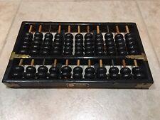 Vintage LOTUS FLOWER BRAND Chinese Wooden Abacus Black 11 column 77 Beads 1940s