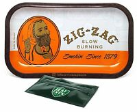 Zig Zag Orange Rolling Tray with Leaf Lock Gear Smell Proof Tobacco Pouch