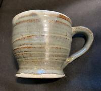 Vintage Handmade Coffee Mug Signed Earthy Green Drip Glaze Studio Pottery Mug