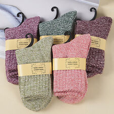 5Pairs knitting Wool Socks Cashmere Thick Warm Solid Casual Sportwear Winter NCY