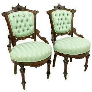 Antique Chairs, Victorian East Lake Side, Light Green Upholstery, Pair, 1800s!!!