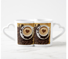 2x Mugs Cups One Of A Kind Unique Love Heart Handle Coffee Design For Him & Her