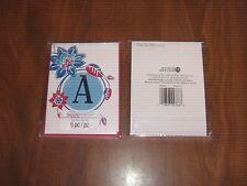 "New 2 Pkgs.=12 Blank Notecards & Envelopes - Blue Foil Initial ""A""- STUDIO 18"