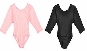 NWT New Jacques Moret Leotard Leo 3/4 Sleeve Pink or Black Nylon Cute Nice Girl