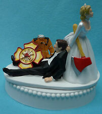 Wedding Cake Topper Fireman Firefighter Maltese Cross Themed Bride Groom Funny