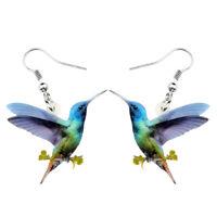 Acrylic Floral Hummingbird Earrings Dangle Fashion Animal Jewelry For Women Gift
