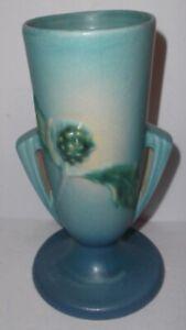 """Roseville Pottery Blue 2 Handled Thornapple Vase #814-7 7-1/2"""" tall"""