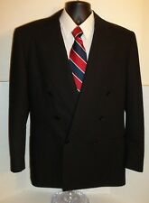 CANALI 38R/48EU BLACK DOUBLE BREASTED JACKET SUIT COAT FINE ITALIAN WOOL PERFECT