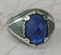 Turkish Ottoman  Blue Sapphire Gemstone 925 Sterling Silver Mens Ring Gemstone