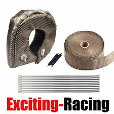 "T3 Titanium Turbo Heat Shield Blanket Cover + 2"" 50FT Exhaust Header Wrap Tape"