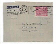 V34 1950 Jamaica Kingston Air Letter Preston GB Cover {samwells-covers}PTS