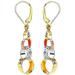 9Ct Yellow, White & Rose Gold Interlink Drop Earrings