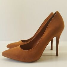 Ladies Stiletto Shoes UK 4 Tan Faux Suede High Heel Sexy Chic Classic Elegance