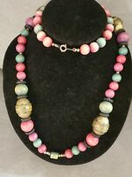 Vintage Pink & Green Wood Beaded Statement Necklace Boho Arty Style