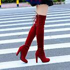 Sexy Women Over the Knee Long Boots Thigh High Heels Chunky Suede Slouch Shoes2