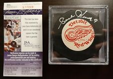 JSA GORDIE HOWE #9 SIGNED PUCK DEROIT RED WINGS JAMES SPENCE AUTHENTICATION