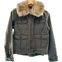 Lucky Brand Women's Olive Zip Up Utility Jacket With Faux Fur Collar Size Small