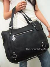 COACH MINT Black Pebble Leather Alexandra Convertible Tote #17566 GORGEOUS!