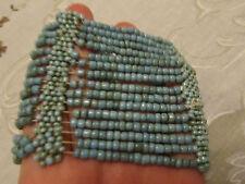 "Blue Ceramic Bead Elasticated Bracelet - 2.5"" wide"