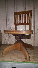 Antique Industrial Quartersawn Oak Office Secretary Desk Drafting Swivel Chair