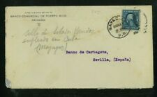 Puerto Rico 1914 Commercial Cover Mayaguez to Sevilla, Spain franked Scott 378