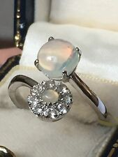 Fiery Welo OPAL  Wht Topaz Floral Ring Platinum On  SILVER Size O (1.600cts